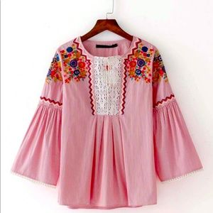 Zara floral embroidered wide sleeve blouse top red